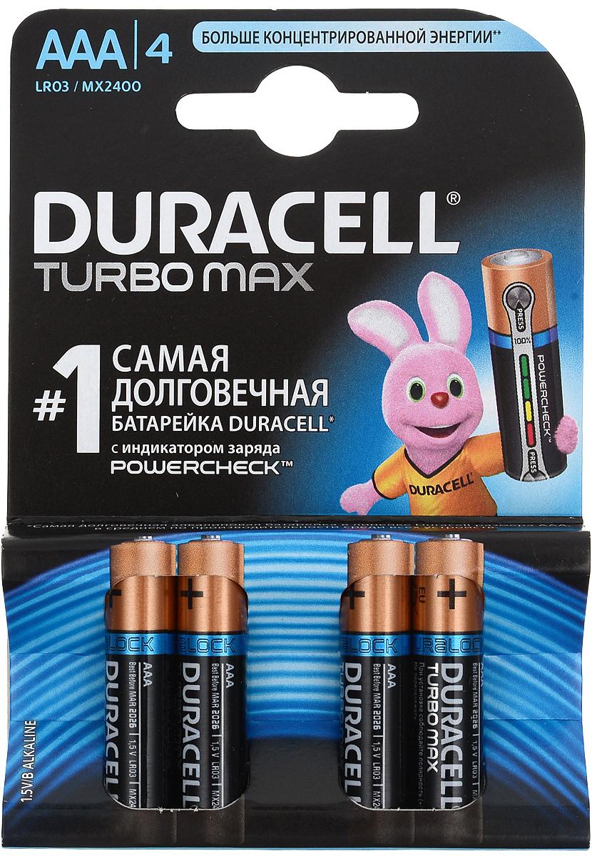 Набор алкалиновых батареек Duracell Turbo Max, тип AAA, 4 штDRC-81549875Набор Duracell Turbo Max состоит из 4 мизинчиковых батареек с индикатором заряда Powercheck.Duracell Turbo Max является одной из наиболее мощных и долговечных щелочных батареек среди представленных на рынке. Линейка Duracell Turbo Max разработана специально для применения в высокотехнологичных приборах, которым требуются источники энергии особой мощности. Не разбирать, не перезаряжать, не подносить к открытому огню. Не устанавливать одновременно новые и использованные батарейки, а также батарейки различных марок, систем и типов. При установке соблюдать полярность (+/-). Хранить в недоступном для детей месте.Уважаемые клиенты! Обращаем ваше внимание на возможные изменения в дизайне упаковки. Качественные характеристики товара остаются неизменными. Поставка осуществляется в зависимости от наличия на складе.