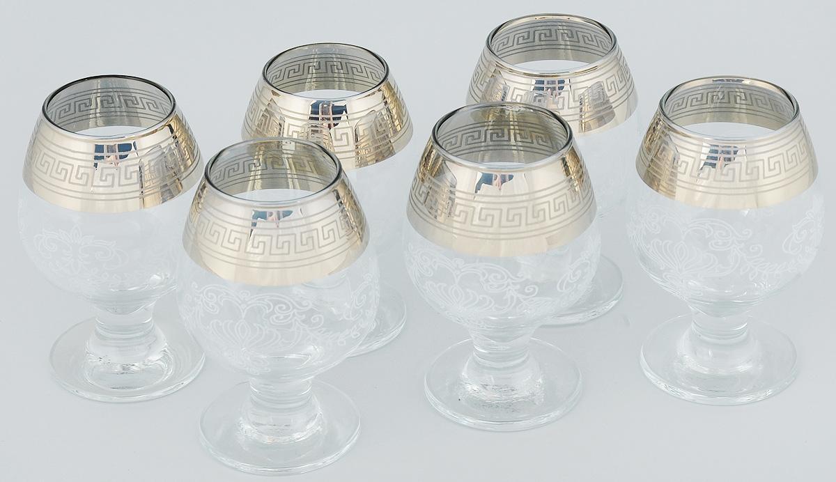 """Набор Мусатов """"Гармония"""" состоит из 6 фужеров для коньяка,  изготовленных из высококачественного стекла.  Бокалы имеют прозрачную поверхность и  декорированы позолоченной окантовкой с  орнаментом.  Набор бокалов Мусатов """"Гармония""""  прекрасно оформит интерьер кабинета или  гостиной и станет отличным дополнением бара.  Такой набор также станет  хорошим подарком к любому случаю.  Можно мыть в посудомоечной машине. Диаметр бокала (по верхнему краю): 5 см.  Высота бокала: 12 см.  Диаметр основания бокала: 6,5 см."""