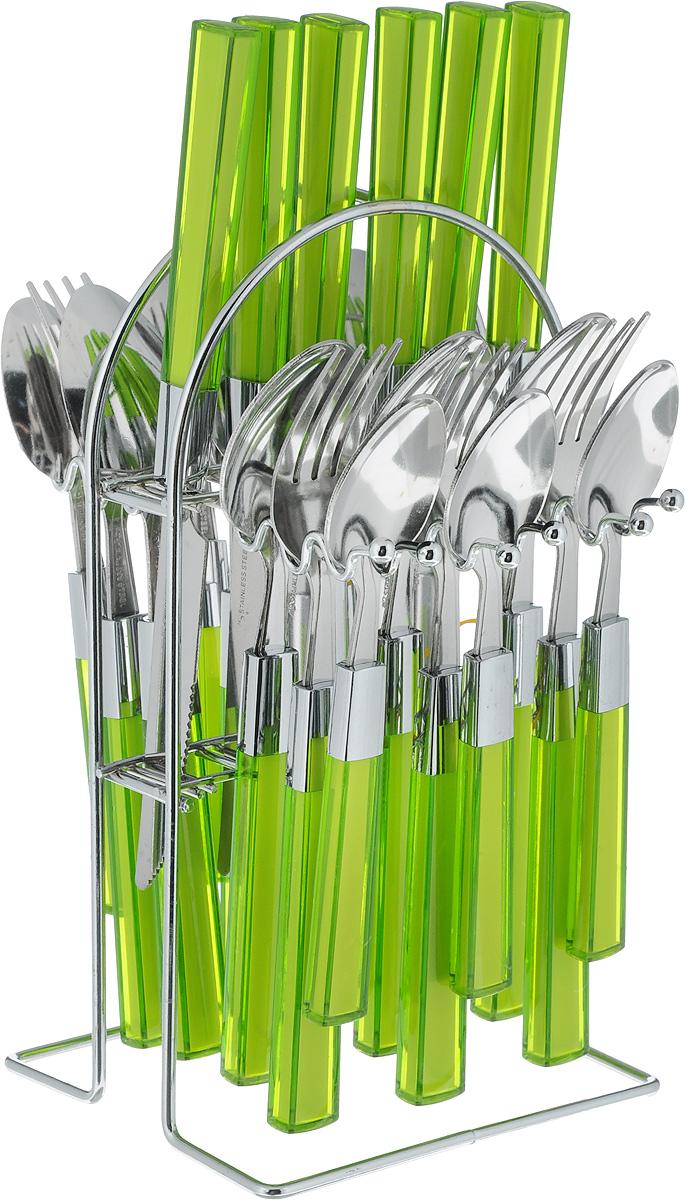 Набор столовых приборов Mayer & Boch, цвет: зеленый, 25 предметов20686-3_зеленыйНабор столовых приборов Mayer & Boch выполнен из прочной полированной нержавеющей стали и высококачественного пластика. В набор входят 6 столовых ложек, 6 вилок, 6 чайных ложек и 6 ножей. Приборы имеют прозрачные пластиковые ручки с вставками синего цвета. Прекрасное сочетание яркого дизайна и удобства использования предметов набора придется по душе каждому. Изделия расположены на металлической подставке, что удобно для хранения набора прямо на столе или столешнице. Набор столовых приборов Mayer & Boch подойдет как для ежедневного использования, так и для торжественных случаев.Длина ножа: 22,5 см.Длина лезвия: 10,5 см.Длина столовой ложки: 20 см.Длина вилки: 21 см.Длина чайной ложки: 16 см.Размер подставки: 12,5 x 12 x 23 см.
