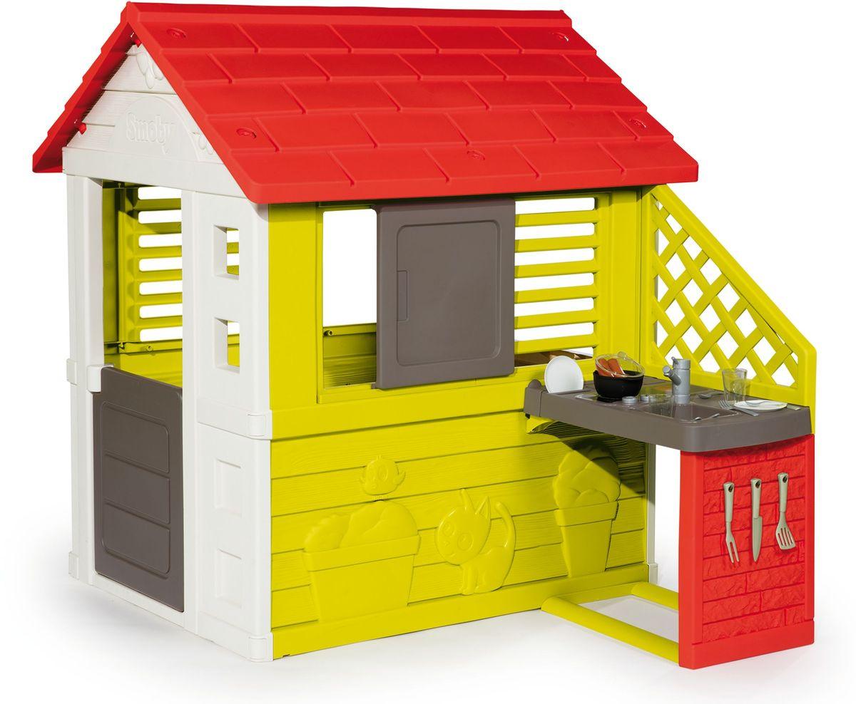 Smoby Игровой домик с кухней цвет красный домик игровой smoby с кухней красный 145 110 127см 1 1 810702