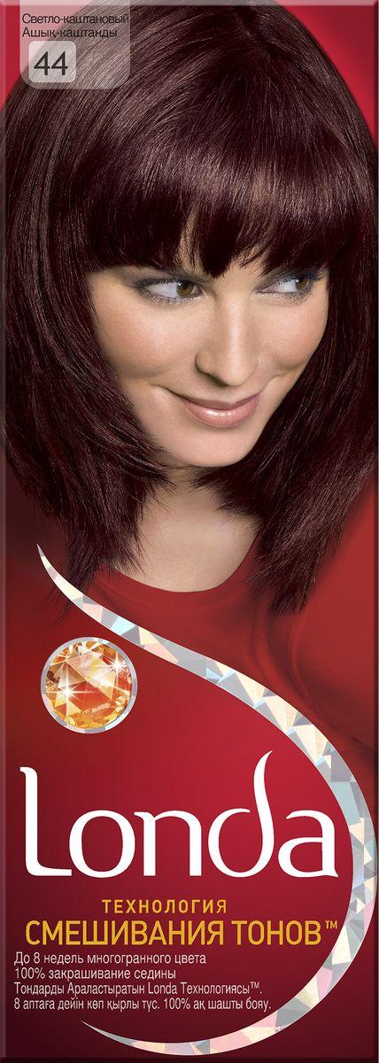 LONDA Крем-краска для волос стойкая 44 Светло-каштановый9393153Ищите цвет, полный жизни, который бы сохранился надолго? Крем-краска для волос Londa идеально вам подойдет. Эксклюзивная система окрашивания дарит вам до 8 недель многогранного цвета. Это возможно благодаря технологии смешивания тонов, которая объединяет богатые оттенки, и бальзаму Стойкий цвет, который надолго сохранит ваш насыщенный цвет. 100% закрашивание седины.Товар сертифицирован.