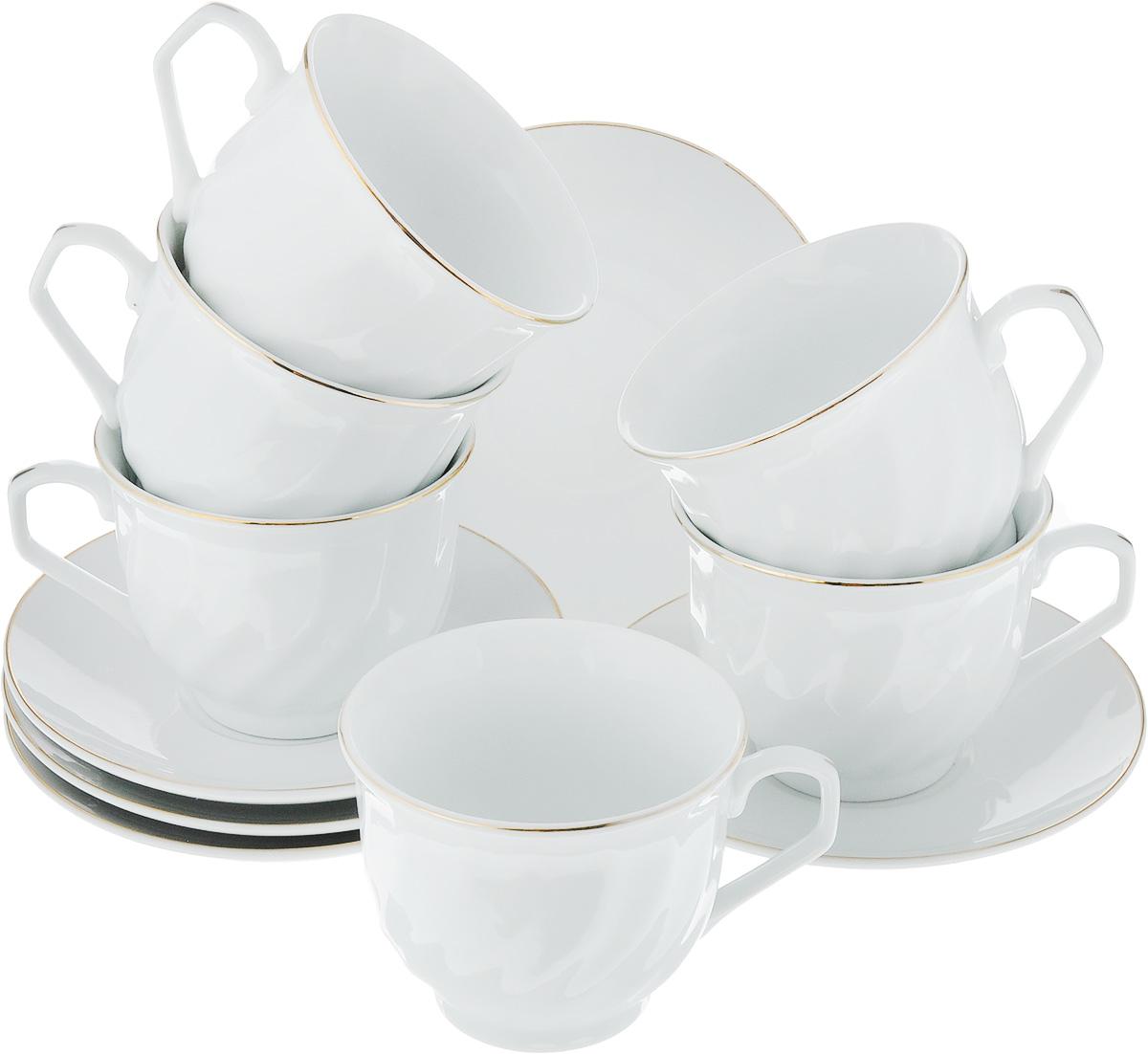 Набор чайный Loraine, 12 предметов. 2561425614Чайный набор Loraine состоит из шести чашек и шести блюдец. Изделия выполнены из высококачественного фарфора и имеют нежный дизайн с золотым декором. Такой набор изящно дополнит сервировку стола к чаепитию. А благодаря оригинальному дизайну и качеству исполнения, он станет замечательным подарком для ваших друзей и близких. Набор упакован в подарочную упаковку.Объем чашки: 220 мл. Диаметр чашки (по верхнему краю): 8,5 см. Высота чашки: 7 см. Диаметр блюдца: 13,5 см.Высота блюдца: 2 см.