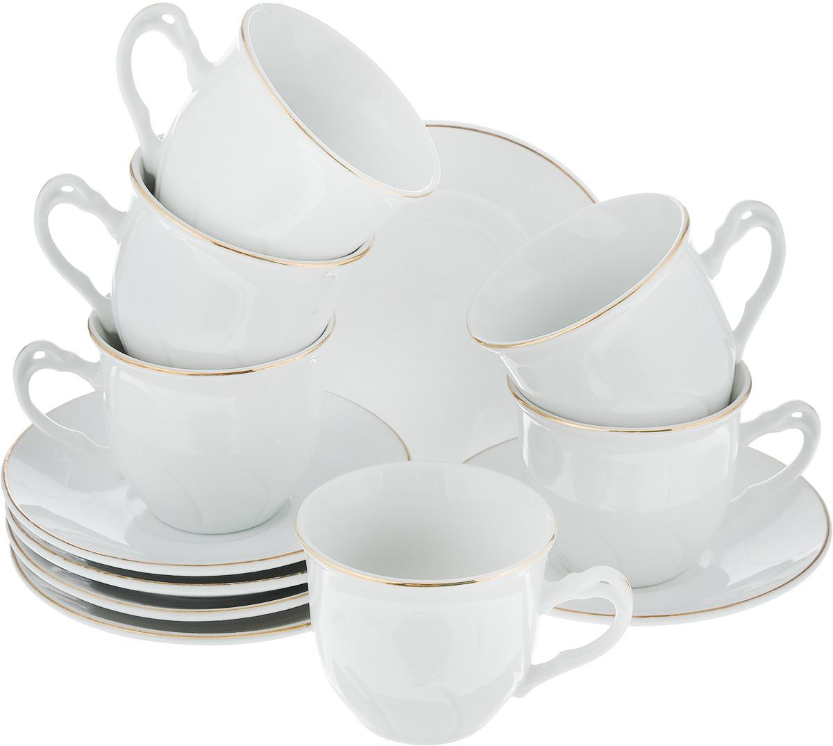 Набор кофейный Loraine, 12 предметов. 2560725607Кофейный набор Loraine состоит из 6 чашек и 6 блюдец. Изделия выполнены из высококачественного фарфора и имеют белый цвет с золотым декором. Такой набор прекрасно подойдет как для повседневного использования, так и для праздников. Набор Loraine - это не только яркий и полезный подарок для родных и близких, а также великолепное дизайнерское решение для вашей кухни или столовой. Набор упакован в подарочную коробку.Диаметр чашки (по верхнему краю): 6,5 см. Высота чашки: 5,5 см. Диаметр блюдца (по верхнему краю): 11 см. Высота блюдца: 1,5 см.Объем чашки: 90 мл.