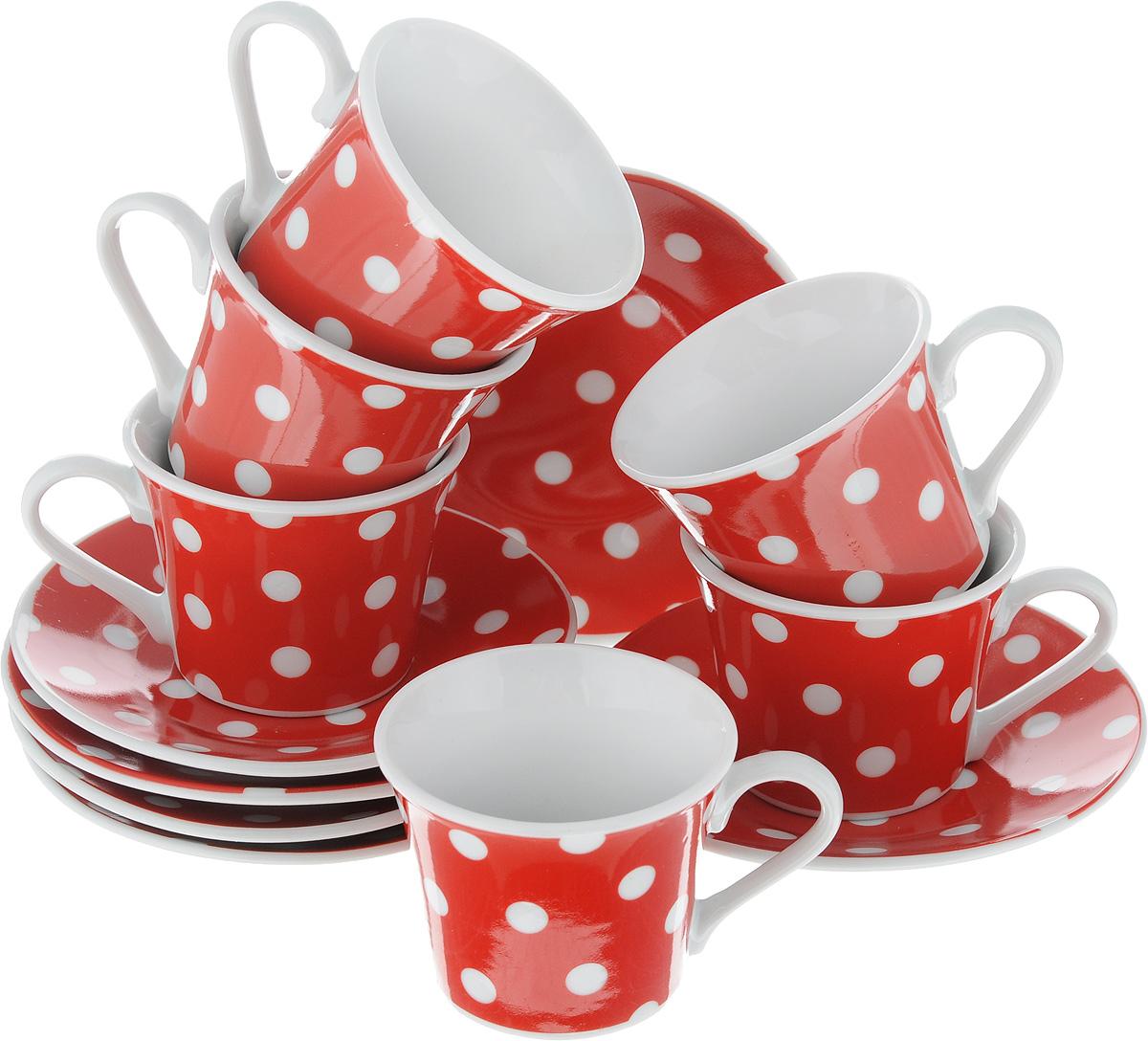 Набор кофейный Loraine Горох, 12 предметов4195Кофейный набор Loraine Горох состоит из 6 чашек и 6 блюдец. Изделия выполнены из высококачественного фарфора, имеют яркий дизайн и классическую круглую форму. Такой набор прекрасно подойдет как для повседневного использования, так и для праздников. Набор Loraine Горох - это не только яркий и полезный подарок для родных и близких, а также великолепное дизайнерское решение для вашей кухни или столовой. Набор упакован в подарочную коробку.Диаметр чашки (по верхнему краю): 6,2 см. Высота чашки: 5,2 см. Диаметр блюдца (по верхнему краю): 11 см. Высота блюдца: 1,5 см.Объем чашки: 80 мл.