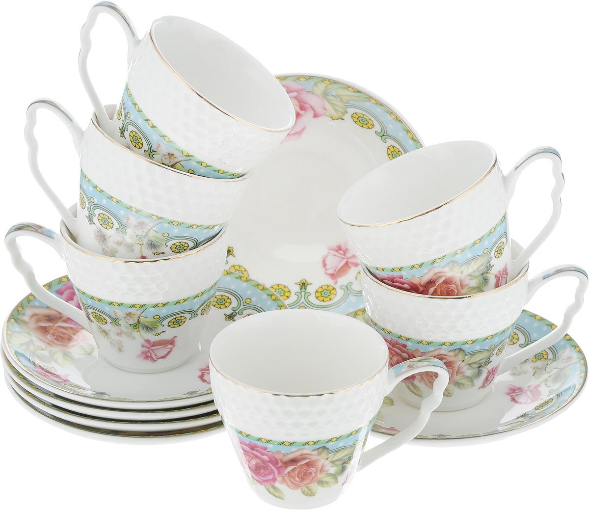 Набор кофейный Loraine Розы, 12 предметов. 2578925789Кофейный набор Loraine Розы состоит из 6 чашек и 6 блюдец. Изделия выполнены из высококачественного костяного фарфора, оформлены золотистой каймой и цветочным рисунком. Такой набор станет прекрасным украшением стола и порадует гостей изысканным дизайном и утонченностью. Набор упакован в подарочную коробку, задрапированную внутри белой атласной тканью. Каждый предмет надежно зафиксирован внутри коробки. Кофейный набор Loraine Розы идеально впишется в любой интерьер, а также станет идеальным подарком для ваших родных и близких. Объем чашки: 90 мл. Диаметр чашки (по верхнему краю): 6,2 см. Высота чашки: 5,5 см. Диаметр блюдца (по верхнему краю): 11,2 см. Высота блюдца: 1,5 см.