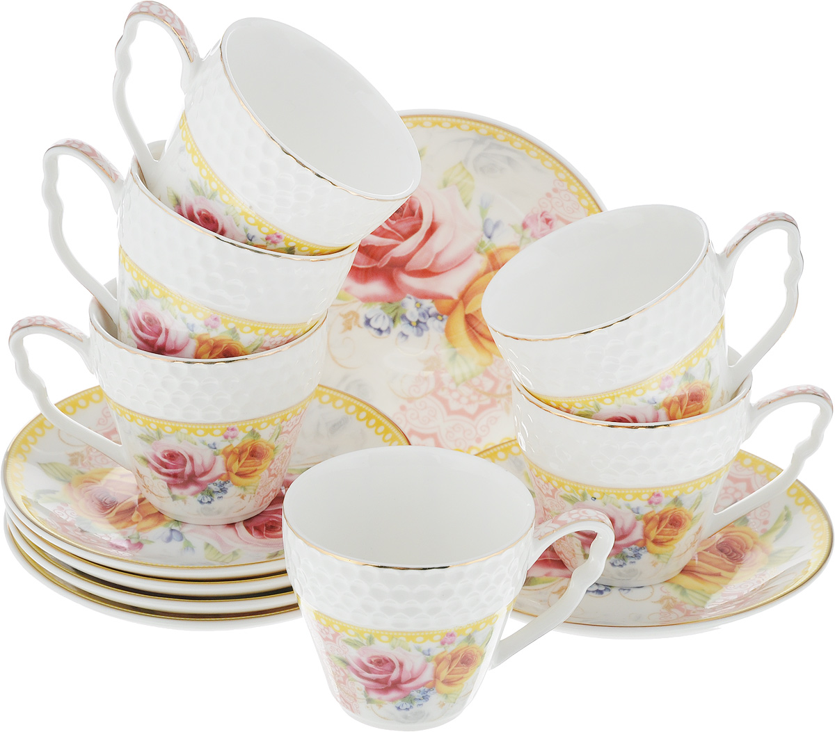 Набор кофейный Loraine Розы, 12 предметов. 2578725787Кофейный набор Loraine Розы состоит из 6 чашек и 6 блюдец. Изделия выполнены из высококачественного костяного фарфора, оформлены золотистой каймой и цветочным рисунком. Такой набор станет прекрасным украшением стола и порадует гостей изысканным дизайном и утонченностью. Набор упакован в подарочную коробку, задрапированную внутри белой атласной тканью. Каждый предмет надежно зафиксирован внутри коробки. Кофейный набор Loraine Розы идеально впишется в любой интерьер, а также станет идеальным подарком для ваших родных и близких. Объем чашки: 90 мл. Диаметр чашки (по верхнему краю): 6,2 см. Высота чашки: 5,5 см. Диаметр блюдца (по верхнему краю): 11,2 см. Высота блюдца: 1,5 см.