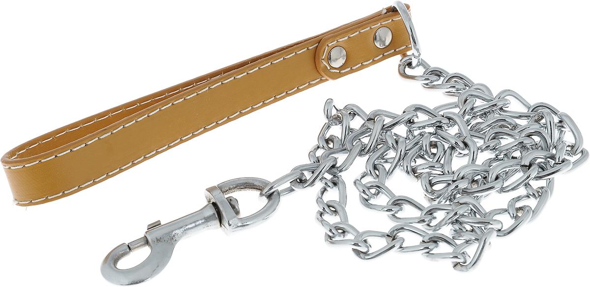 Поводок-цепь для собак Dezzie, цвет: бежевый, серебристый, толщина 3,5 мм, длина 120 см5601018_бежевый, серебристыйПоводок-цепь для собак Dezzie - это удобная и качественная амуниция из хромированной стали и натуральной кожи. Поводок прост в использовании. Он поможет удерживать энергичного питомца во время прогулки, не навредив при этом его здоровью. Изделие пристегивается к ошейнику с помощью встроенного карабина. Такой поводок смотрится элегантно, идеально подходит для дрессировки и создан так, чтобы не причинить питомцам дискомфорта.Длина поводка: 120 см.Толщина цепи: 3,5 мм.