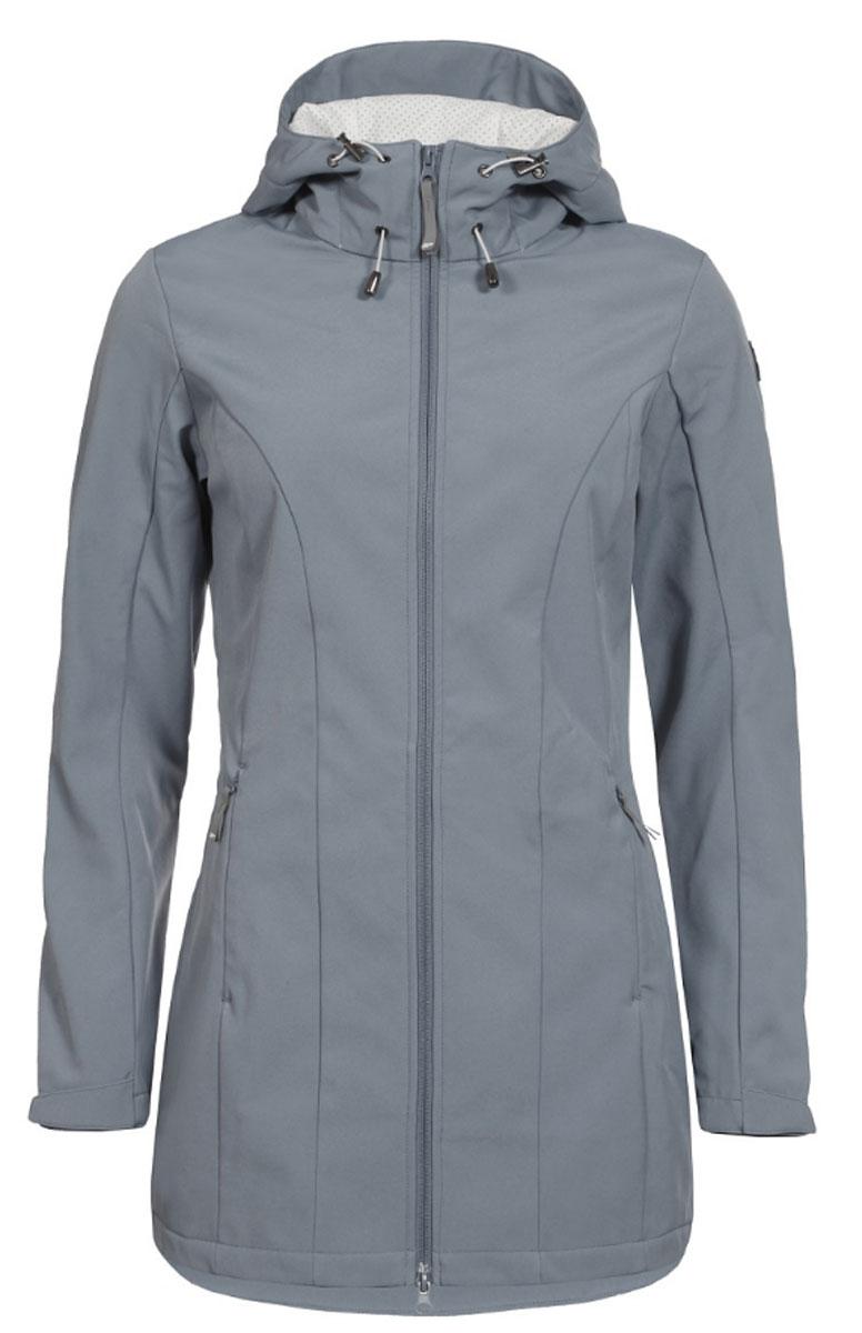 Куртка женская Icepeak, цвет: серый. 754850682IV. Размер 34 (40)754850682IVЖенская куртка Icepeak выполнена из качественного полиэстера. Модель с длинными рукавами застегивается на застежку-молнию. Изделие дополнено капюшоном и двумя врезными карманами на молниях.