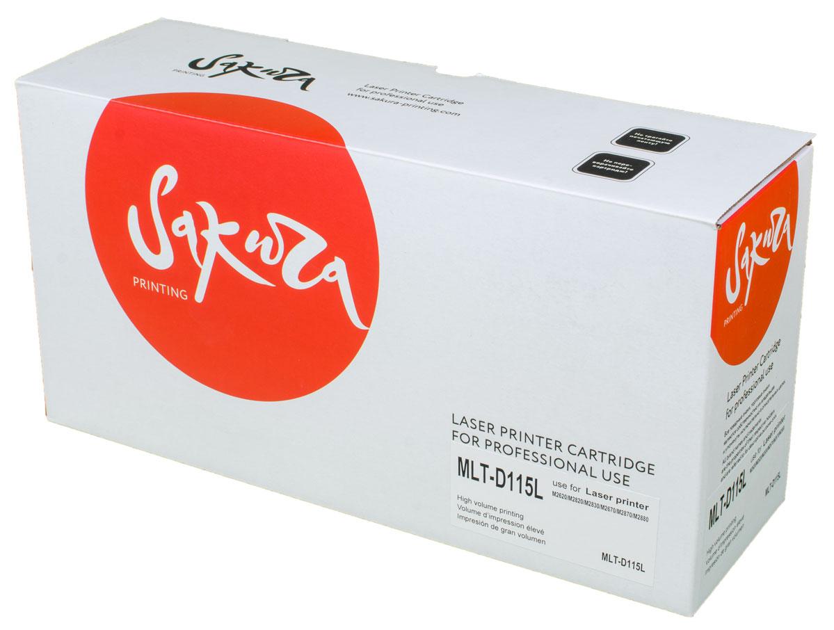 Sakura MLTD115L, Black тонер-картридж для Samsung SL-M2620/M2820/M2670/M2870SAMLTD115LТонер-картридж Sakura MLTD115L для лазерных принтеров Samsung SL-M2620/2820/M2670/2870 является альтернативным решением для замены оригинальных картриджей. Он печатает с тем же качеством и имеет тот же ресурс, что и оригинальный картридж. В картриджах компании Sakura используется химический синтезированный тонер, который в отличие от дешевого тонера из перемолотого полимера, не царапает, а смазывает печатающий вал, что приводит к возможности многократных перезаправок картриджей. Такой подход гарантирует долгий срок службы принтера, превосходное качество и стабильность печати.Тонер-картриджи Sakura производятся при строгом соответствии стандартам ISO 9001 и ISO 14001, что подтверждено международными сертификатами.