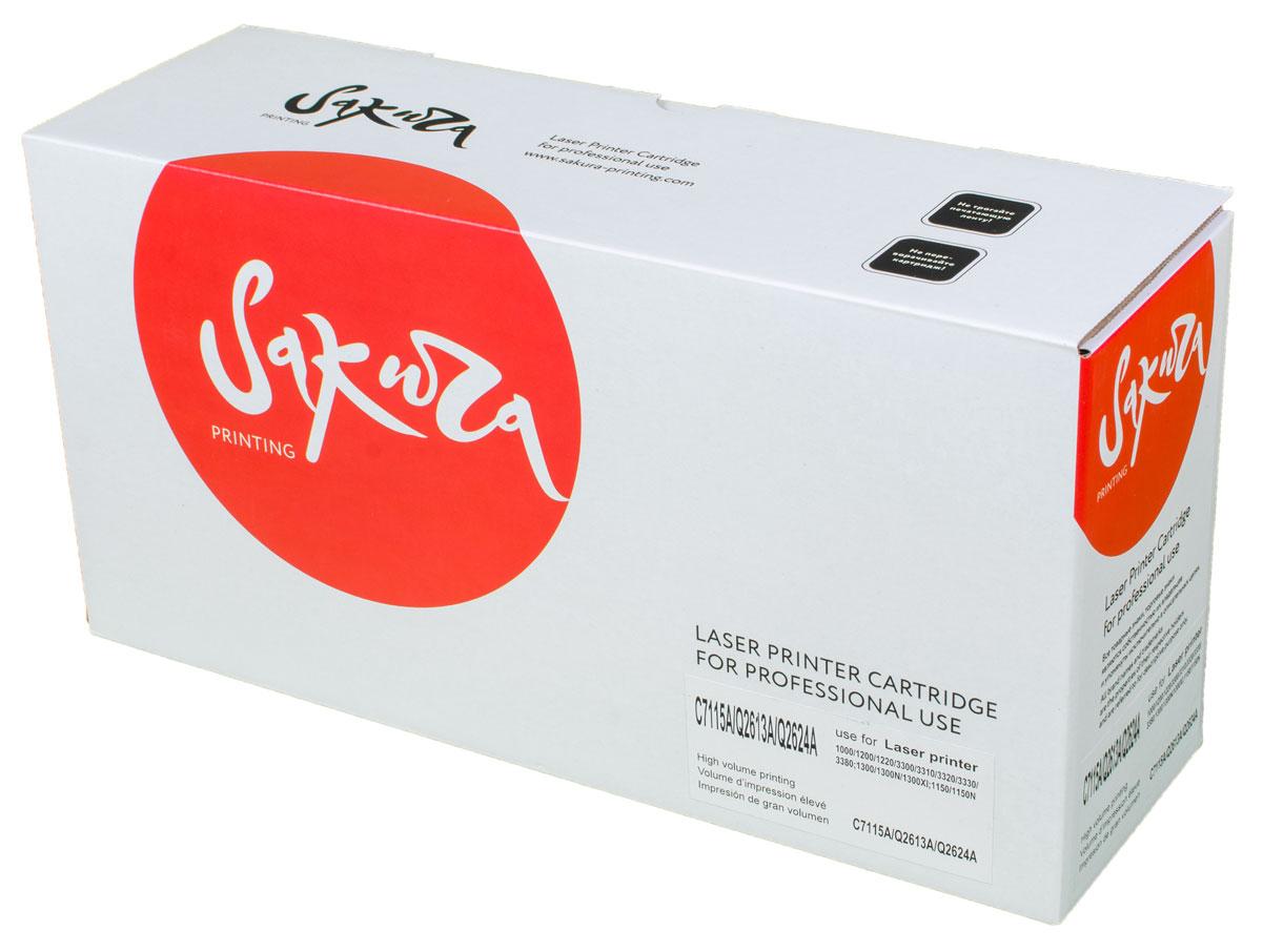 Sakura C7115A/Q2613A/2624A, Black тонер-картридж для HP LaserJet 1000/1200/3300/1300/1150 new rf0 1008 rf0 1014 rl1 0303 for hp laserjet 1000 1150 1100 1200 1220 1300 3300 3330 3320 pickup roller separation pad