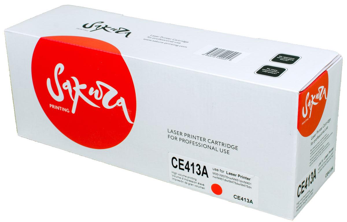 Sakura CE413A, Magenta тонер-картридж для HP LaserJet Pro Color M351/M375nw/M451dn/M451nw/M451dw/M475dw/M475dnSACE413AТонер-картридж Sakura CE413A для лазерных принтеров HP LaserJet Pro Color M351/M375nw/M451dn/M451nw/M451dw/M475dw/M475dn является альтернативным решением для замены оригинальных картриджей. Он печатает с тем же качеством и имеет тот же ресурс, что и оригинальный картридж. В картриджах компании Sakura используется химический синтезированный тонер, который в отличие от дешевого тонера из перемолотого полимера, не царапает, а смазывает печатающий вал, что приводит к возможности многократных перезаправок картриджей. Такой подход гарантирует долгий срок службы принтера, превосходное качество и стабильность печати.Тонер-картриджи Sakura производятся при строгом соответствии стандартам ISO 9001 и ISO 14001, что подтверждено международными сертификатами.