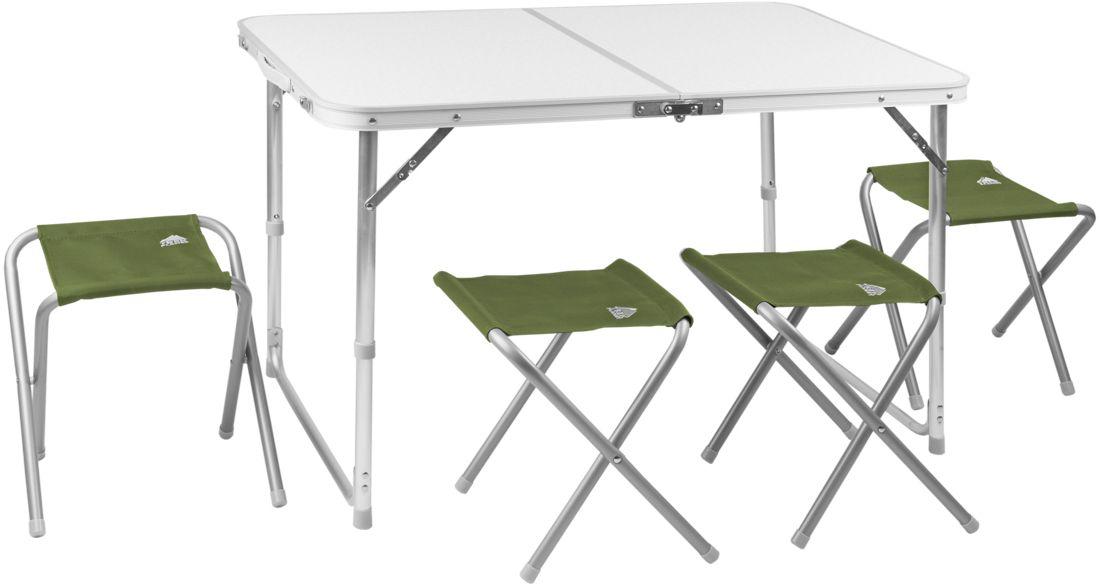 Набор складной мебели Trek Planet Event Set 95, кемпинговый, 95 х 61 х 60 см, 5 предметов70667Комплект складной мебели для семейного отдыха на природе, состоящий из стола и 4-х стульев Event Set 95 не займет много места в машине.Если поверхность не очень ровная, высоту ножек стола можно слегка отрегулировать с помощью пластиковых шайб в основании каждой ножки.В собранном виде набор не занимает много места:4 стула компактно складываются в стол, столешница складывается пополам в плоский чемоданчик с ручкой для переноски.- Набор включает стол и 4 стула- Регулируемая высота ножек стола- Стулья компактно складываются в стол- Столешница из огнеупорного пластика- Набор компактно складывается в плоский чемоданчик с ручкой для переноскиХарактеристики:Материал: Столешница: огнеупорный пластикРама: 25/19 мм алюминий с матовым покрытиемРазмер стола в разложенном виде: 95х61х60 смРазмер стула в разложеннои виде: 41х29х34 смРазмер набора в сложенном виде: 47,5х7х60смВес: 7,3 кгНагрузка на стол: 30 кгНагрузка на стул: 100 кгПроизводство: КитайАртикул: 70667