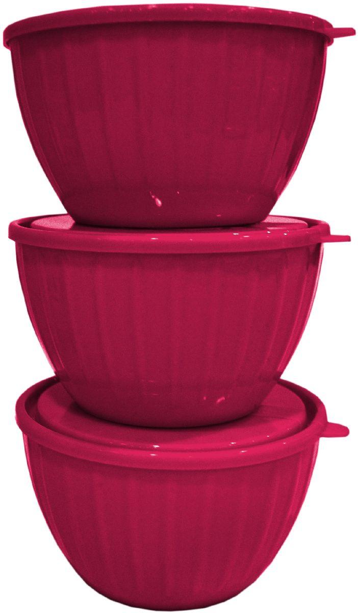 Набор салатников Giaretti Fiesta, с крышками, цвет: ягодный, 0,6 л, 3 шт набор салатников giaretti fiesta с крышками цвет ягодный 3 предмета