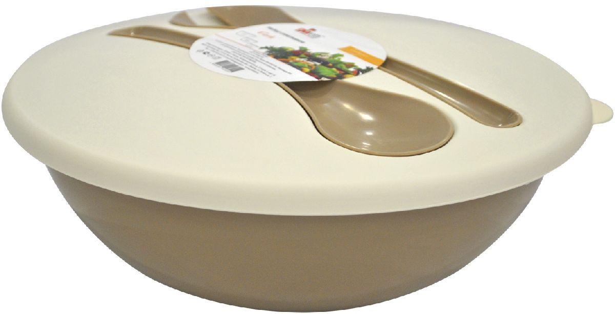 Салатник Giaretti Dolche, с крышкой и приборами, цвет: кофейный, 3 лGR1878КФНаслаждайтесь вашим свежим салатом, ведь в салатнике Giaretti Dolche готовить его одно удовольствие. Преимущества: стильный дизайн салатника украсит любой стол и дома, и на природе; с помощью приборов, входящих в комплектацию, вы легко размешаете ваш салат; оптимальный объем подойдет как для большой компании, так и для семейного обеда; плотная крышка сохранит свежесть ваших блюд. Приборы плотно крепятся на крышку, вы не потеряете их во время хранения и переноски.