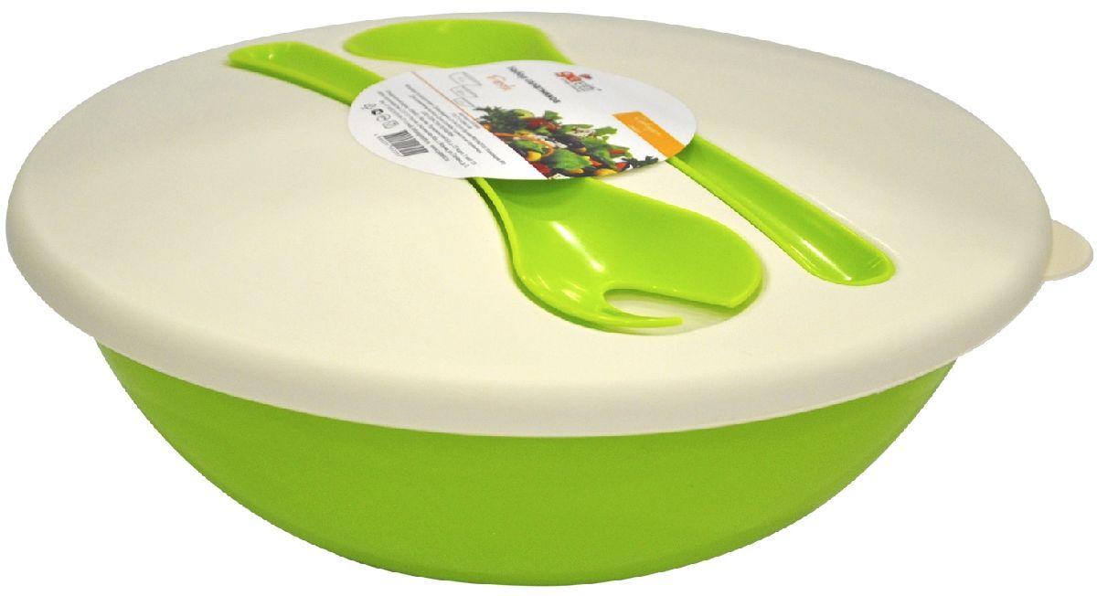 Салатник Giaretti Dolche, с крышкой и приборами, цвет: оливковый, 3 лGR1878ОЛНаслаждайтесь вашим свежим салатом, ведь в салатнике Giaretti Dolche готовить его одно удовольствие. Преимущества: стильный дизайн салатника украсит любой стол и дома, и на природе; с помощью приборов, входящих в комплектацию, вы легко размешаете ваш салат; оптимальный объем подойдет как для большой компании, так и для семейного обеда; плотная крышка сохранит свежесть ваших блюд. Приборы плотно крепятся на крышку, вы не потеряете их во время хранения и переноски.