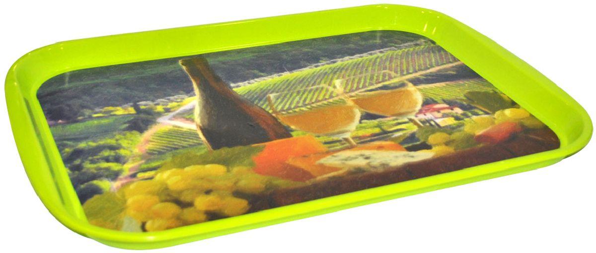 """Поднос Plastic Centre """"Итальянский полдень"""", цвет: зеленый, 47 х 35,5 см"""