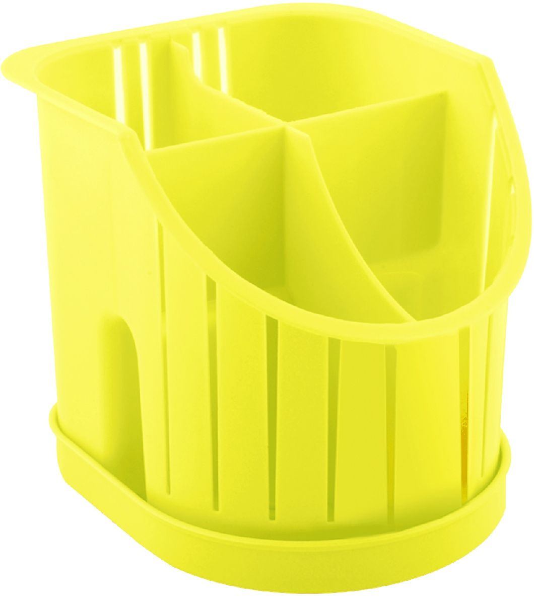 Сушилка для столовых приборов Plastic Centre, 4-секционная, цвет: желтый, 16 х 14,2 х 12,8 см сушилка для столовых приборов plastic centre лилия 20 12 16 см