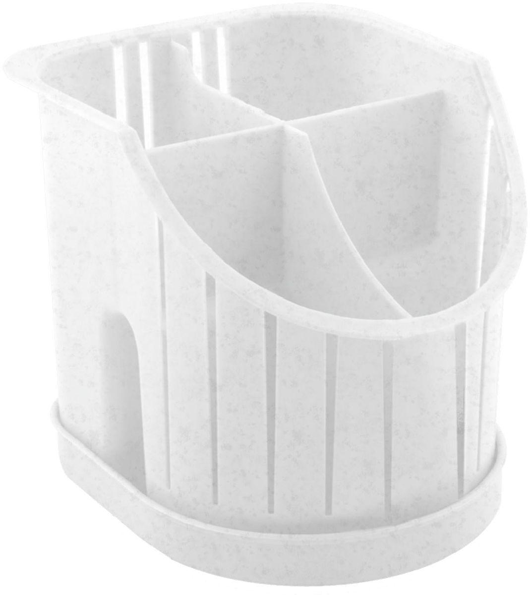"""Сушилка для столовых приборов """"Plastic Centre"""" пригодится на любой кухне. Изделие выполнено из полипропилена. Четыре секции позволят сушить или хранить столовые приборы по отдельности (ножи, вилки, ложки и т.п.). Сушилка снабжена поддоном."""