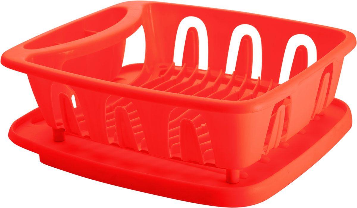 Сушилка для посуды Plastic Centre Люкс, с поддоном, цвет: красный, 36 х 31 х 12,5 смПЦ1556КРСушилка для посуды снабжена двумя секциями: для тарелок и столовых приборов. В комплект входит поддон для стока воды с посуды.Размер сушилки: 36 х 31 х 12,5 см.