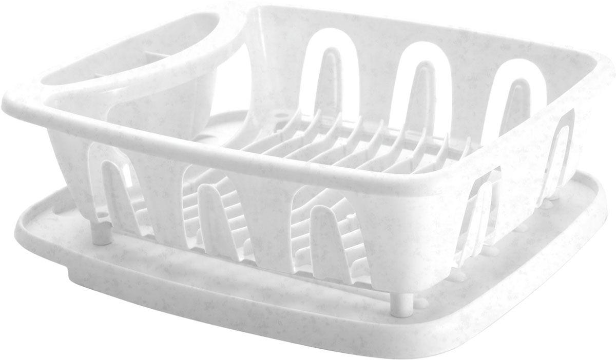 Сушилка для посуды Plastic Centre Люкс, с поддоном, цвет: мраморный, 36 х 31 х 12,5 см доска разделочная plastic centre люкс цвет мраморный диаметр 27 5 см