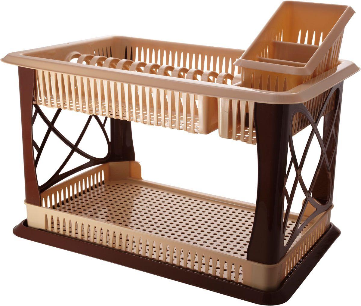 """Уникальная двухъярусная сушилка Plastic Centre """"Лилия""""  позволит сушить или хранить большое количество  посуды. Благодаря двухъярусной конструкции она сэкономит  полезную площадь на столе или в шкафу. В комплект входит  сушилка для столовых приборов с тремя секциями. Нижний  ярус предназначен для кружек, а верхний - для тарелок.   Размер сушилки (ДхШхВ): 47 х 30 х 31 см. Размер сушилки для столовых приборов: 19 х 12 х 16 см."""
