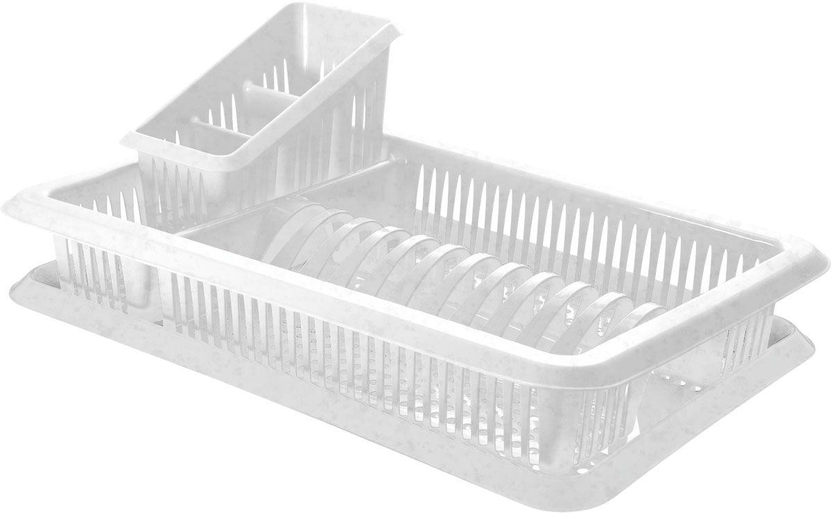 Сушилка для посуды Plastic Centre Лилия, с поддоном, с сушилкой для столовых приборов, цвет: мраморный, 48 х 30,5 х 17 смПЦ1562МРСушилка для посуды Plastic Centre пригодится на любой кухне. Она выполнена из полипропилена. Сушилка снабжена 2 секциями: для тарелок и столовых приборов. В комплект входит поддон для стока воды с посуды.