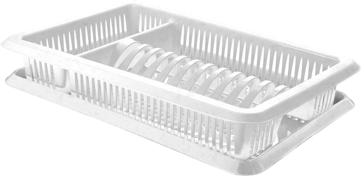 Сушилка для посуды Plastic Centre Лилия, с поддоном, цвет: мраморный, 48 х 30,5 х 8,5 см сушилка д посуды мечта хозяйки 3 48 5х30х9см с поддоном плас