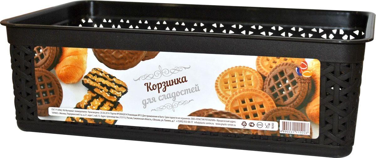 Корзинка для сладостей Plastic Centre, цвет: венге, 25,7 х 15,8 х 8 смПЦ1823ВНГТрадиционная плетеная корзинка для пряников, печенья и конфет. Для тех, кто любит натуральные материалы и природные дизайны. В корзинке удобно подавать на стол печенье, конфеты и другие сладости.Размер корзинки: 25,7 х 15,8 х 8 см.Вес корзинки: 130 г.