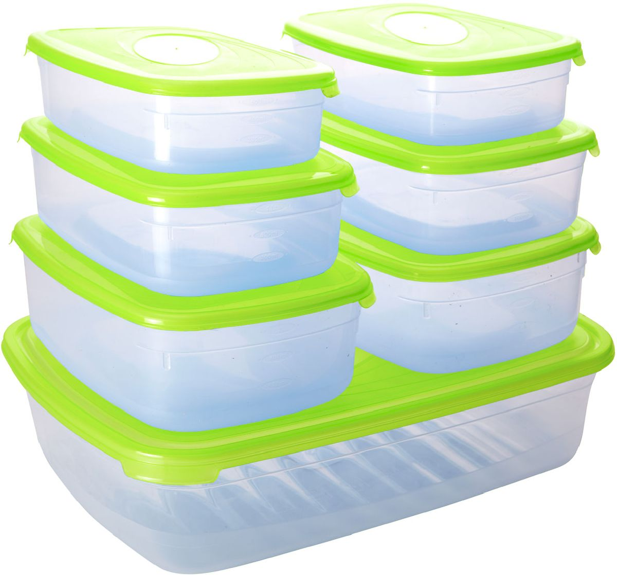 Набор контейнеров Plastic Centre Galaxy, с крышками, цвет: светло-зеленый, прозрачный, 7 шт емкость для свч plastic centre galaxy цвет желтый прозрачный 4 75 л