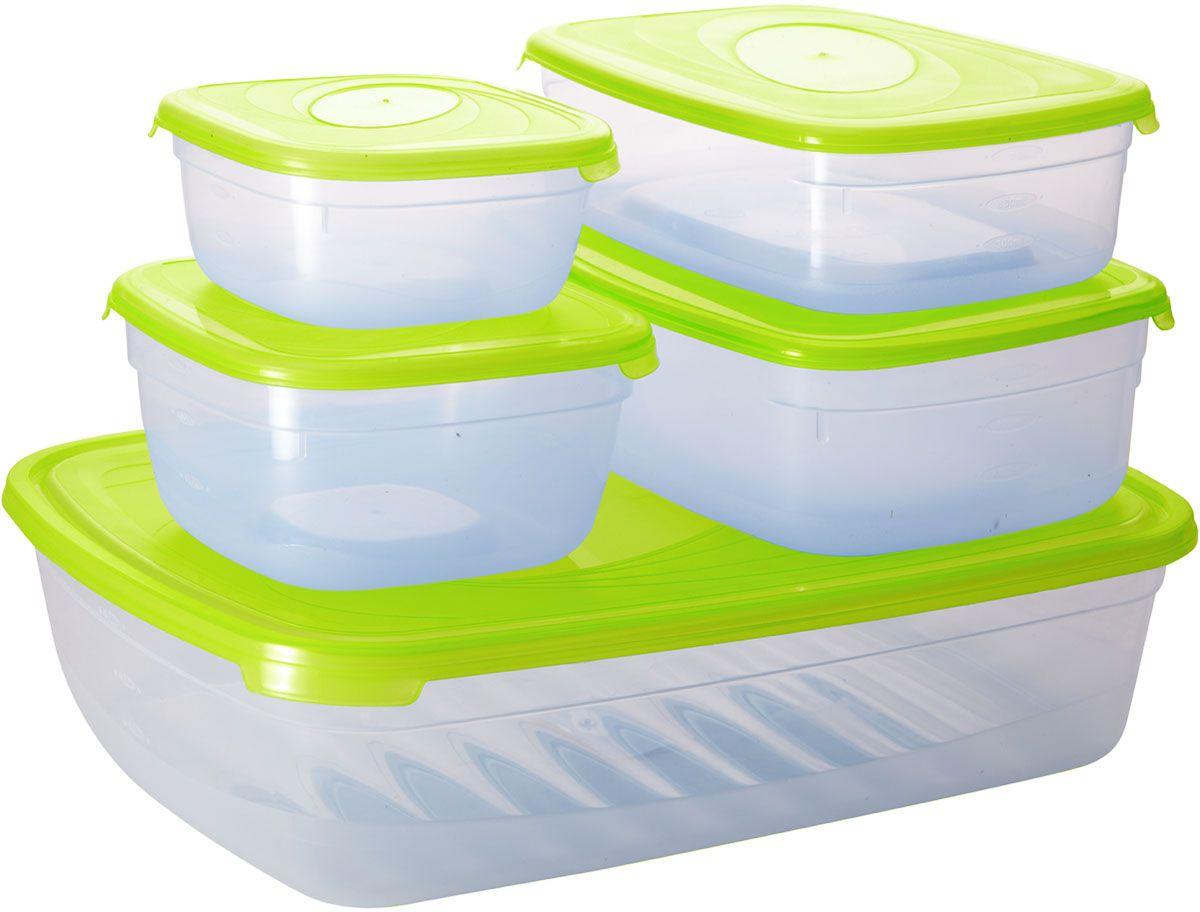 Комплект емкостей для СВЧ Plastic Centre Galaxy, цвет: светло-зеленый, прозрачный, 5 штПЦ2226ЛМКомплект емкостей для СВЧ разных размеров многофункционального применения. Их можно применять как для хранения различных продуктов, так и для разогрева пищи, замораживания ягод и овощей в морозильной камере и т.п. При хранении продуктов емкости можно ставить одну на другую, сохраняя полезную площадь холодильника или морозильной камеры.Объем маленькой прямоугольной емкости: 1,2 л.Объем средней прямоугольной емкости: 1,6 л.Объем большой прямоугольной емкости: 4,85 л.Объем меньшей квадратной емкости: 500 мл.Объем большей квадратной емкости: 1 л.