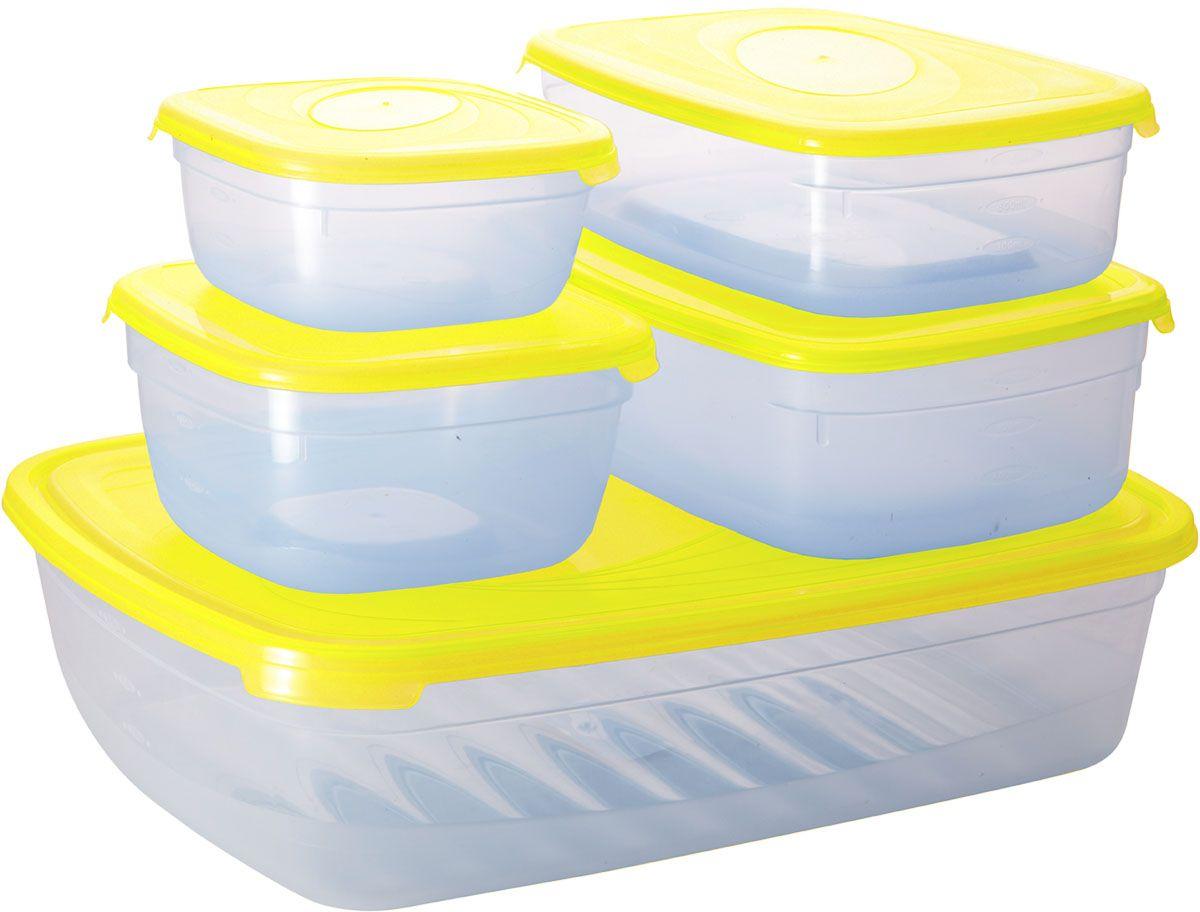 Комплект емкостей для СВЧ Plastic Centre Galaxy, цвет: желтый, прозрачный, 5 штПЦ2226ЛМНКомплект емкостей для СВЧ разных размеров многофункционального применения. Их можно применять как для хранения различных продуктов, так и для разогрева пищи, замораживания ягод и овощей в морозильной камере и т.п.При хранении продуктов емкости можно ставить одну на другую, сохраняя полезную площадь холодильника или морозильной камеры. Объем маленькой прямоугольной емкости: 1,2 л. Объем средней прямоугольной емкости: 1,6 л. Объем большой прямоугольной емкости: 4,85 л. Объем меньшей квадратной емкости: 500 мл. Объем большей квадратной емкости: 1 л.