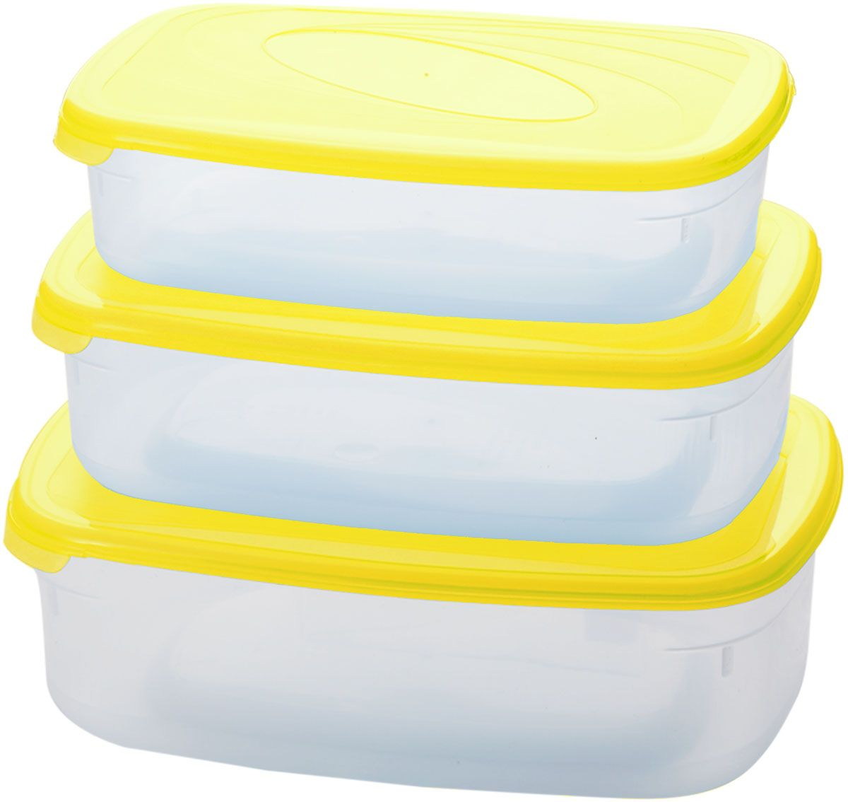 Комплект емкостей для СВЧ Plastic Centre Galaxy, цвет: желтый, прозрачный, 3 шт. ПЦ2234ЛМНПЦ2234ЛМНКомплект емкостей для СВЧ разных размеров многофункционального применения. Их можно применять как для хранения различных продуктов, так и для разогрева пищи, замораживания ягод и овощей в морозильной камере и т.п.При хранении продуктов емкости можно ставить одну на другую, сохраняя полезную площадь холодильника или морозильной камеры. Объем маленькой емкости: 750 мл. Объем средней емкости: 1,2 л. Объем большой емкости: 1,6 л.