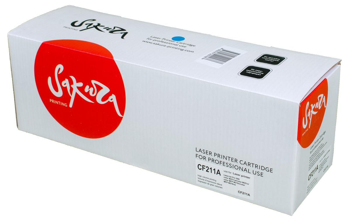 Sakura CF211A, Cyan тонер-картридж для HP LaserJet Pro 200 Color M251nw/M251n/M276n/M276nwSACF211AТонер-картридж Sakura CF211A для лазерных принтеров HP LaserJet Pro 200 Color M251nw/M251n/M276n/M276nw является альтернативным решением для замены оригинальных картриджей. Он печатает с тем же качеством и имеет тот же ресурс, что и оригинальный картридж. В картриджах компании Sakura используется химический синтезированный тонер, который в отличие от дешевого тонера из перемолотого полимера, не царапает, а смазывает печатающий вал, что приводит к возможности многократных перезаправок картриджей. Такой подход гарантирует долгий срок службы принтера, превосходное качество и стабильность печати.Тонер-картриджи Sakura производятся при строгом соответствии стандартам ISO 9001 и ISO 14001, что подтверждено международными сертификатами.