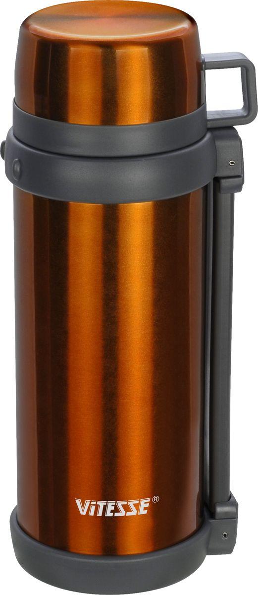 Термос Vitesse, цвет: оранжевый, 1500 млVS-1412Термос Vitesse изготовлен из высококачественной нержавеющей стали. Изделие имеет широкую горловину и комбинированную пробку для еды и напитков. В комплект входит дополнительная пластиковая чашка. Термос оснащен удобным ремнем для переноски.Можно мыть в посудомоечной машине.Объем: 1,5 л.