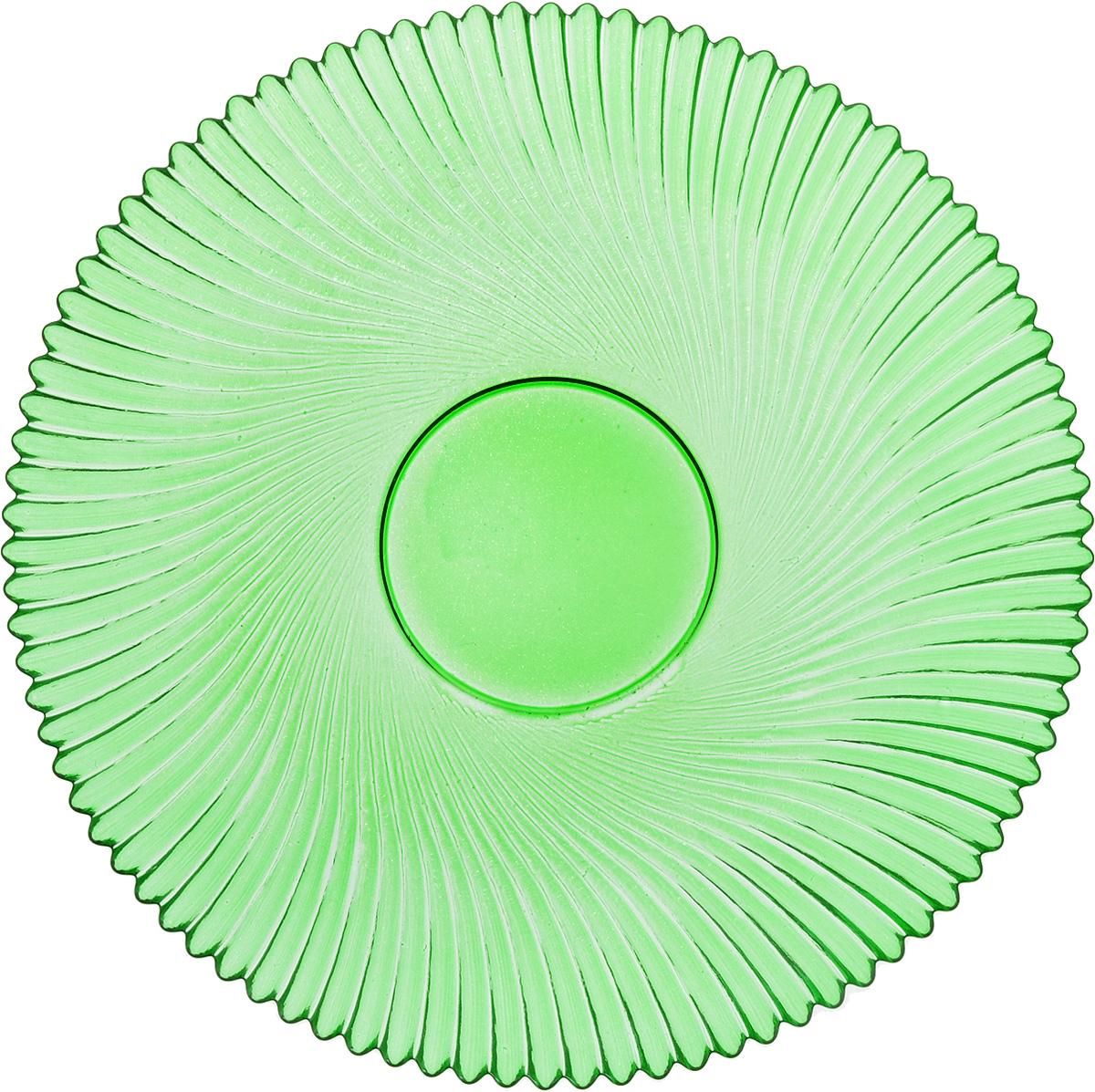Тарелка NiNaGlass Альтера, цвет: зеленый, диаметр 21 см83-066-ф210 ЗЕЛТарелка NiNaGlass Альтера выполнена из высококачественного стекла и оформлена красивым рельефным узором. Тарелка идеальна для подачи вторых блюд, а также сервировки закусок, нарезок, десертов и многого другого. Она отлично подойдет как для повседневных, так и для торжественных случаев.Такая тарелка прекрасно впишется в интерьер вашей кухни и станет достойным дополнением к кухонному инвентарю.