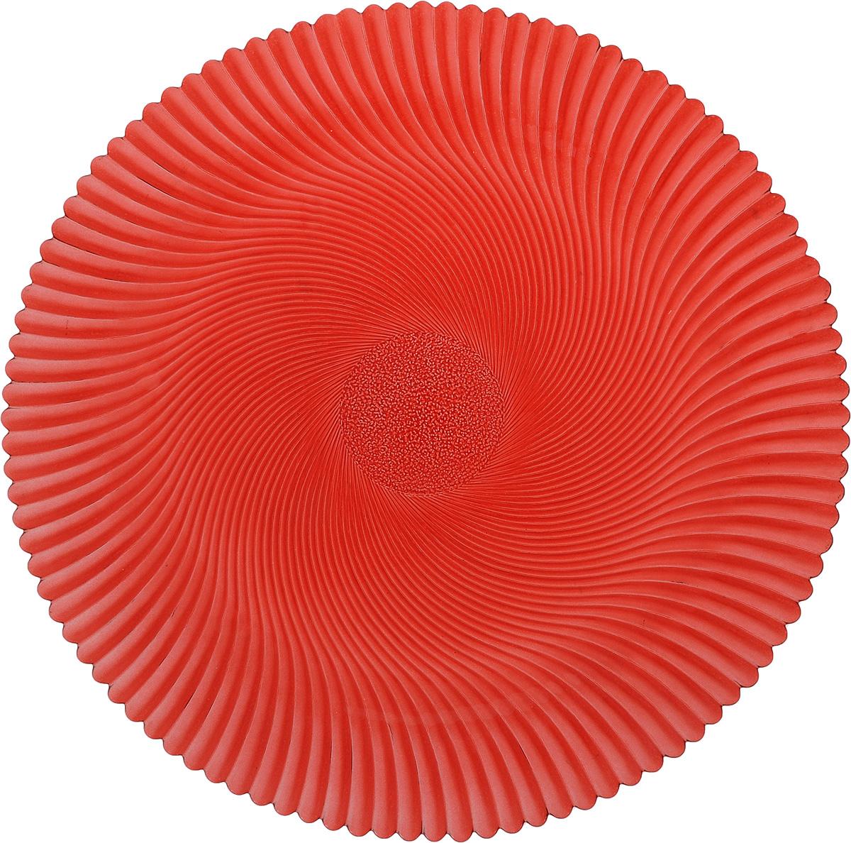 Блюдо NiNaGlass Альтера, цвет: рубиновый, диаметр 32 см83-028-Ф320 РУБКруглое блюдо NiNaGlass Альтера, изготовленное из высококачественного стекла, прекрасно подойдет для подачи нарезок, закусок и других блюд. Внешняя поверхность изделия оформлена рельефом. Такое блюдо украсит сервировку вашего стола и подчеркнет прекрасный вкус хозяйки.Диаметр блюда (по верхнему краю): 32 см.Высота блюда: 2 см.