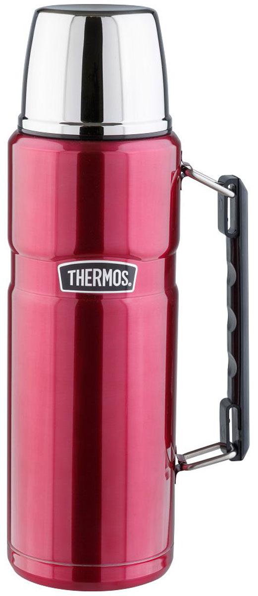 Термос Thermos, цвет: малиновый, 1,2 л. SK 2010890849Стиль, заданный самим названием серии King, подчеркивается благородством цветовых решений, используемых в этой модельной линии. Модель выделяется складной ручкой, созданной для удобного размещения в багаже и полноразмерной чашкой, выполненной из нержавеющей стали. Термос оснащен герметичной поворотной пробкой, позволяющий выливать жидкость, не отвинчивая пробку полностью.Объем: 1,2 л.