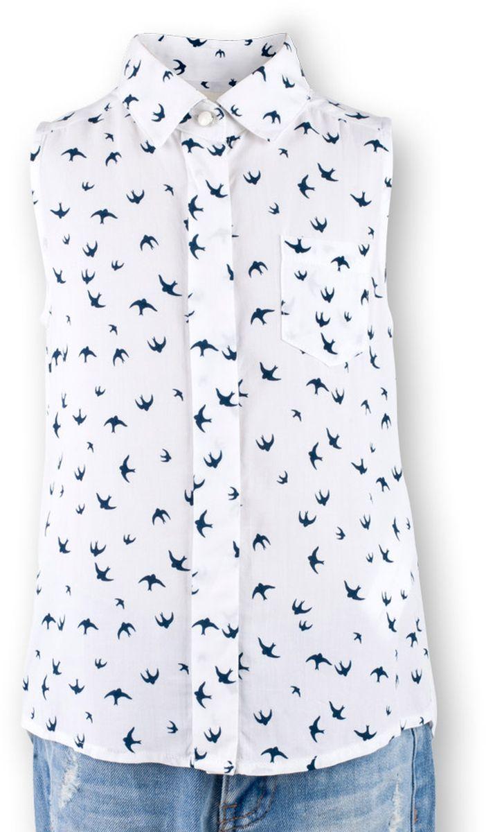 Блузка для девочки Button Blue Main, цвет: белый. 117BBGC22010207. Размер 128, 8 лет117BBGC22010207В новом весенне-летнем сезоне блузка без рукавов - базовая составляющая модногогардероба. Именно поэтому детская блузка без рукавов - хит летней коллекции от Button Blue. Простая, удобная и очень элегантная модель в компании с шортами, брюками, юбкой сделает повседневный образ ребенка модным и современным.