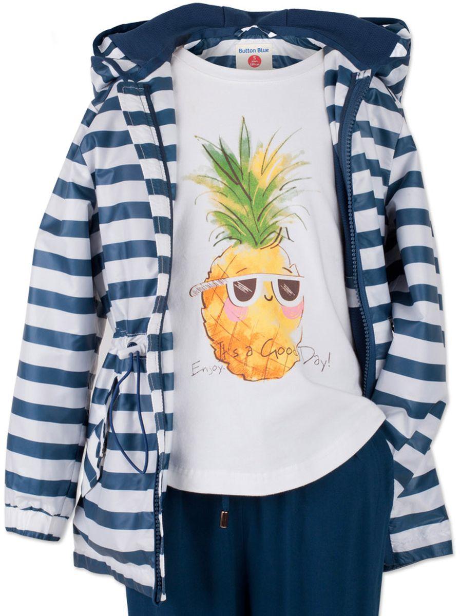 Ветровка для девочки Button Blue Main, цвет: белый, синий. 117BBGC40020205. Размер 98, 3 года джинсы для девочки button blue main цвет голубой 117bbgc6304d200 размер 98 3 года