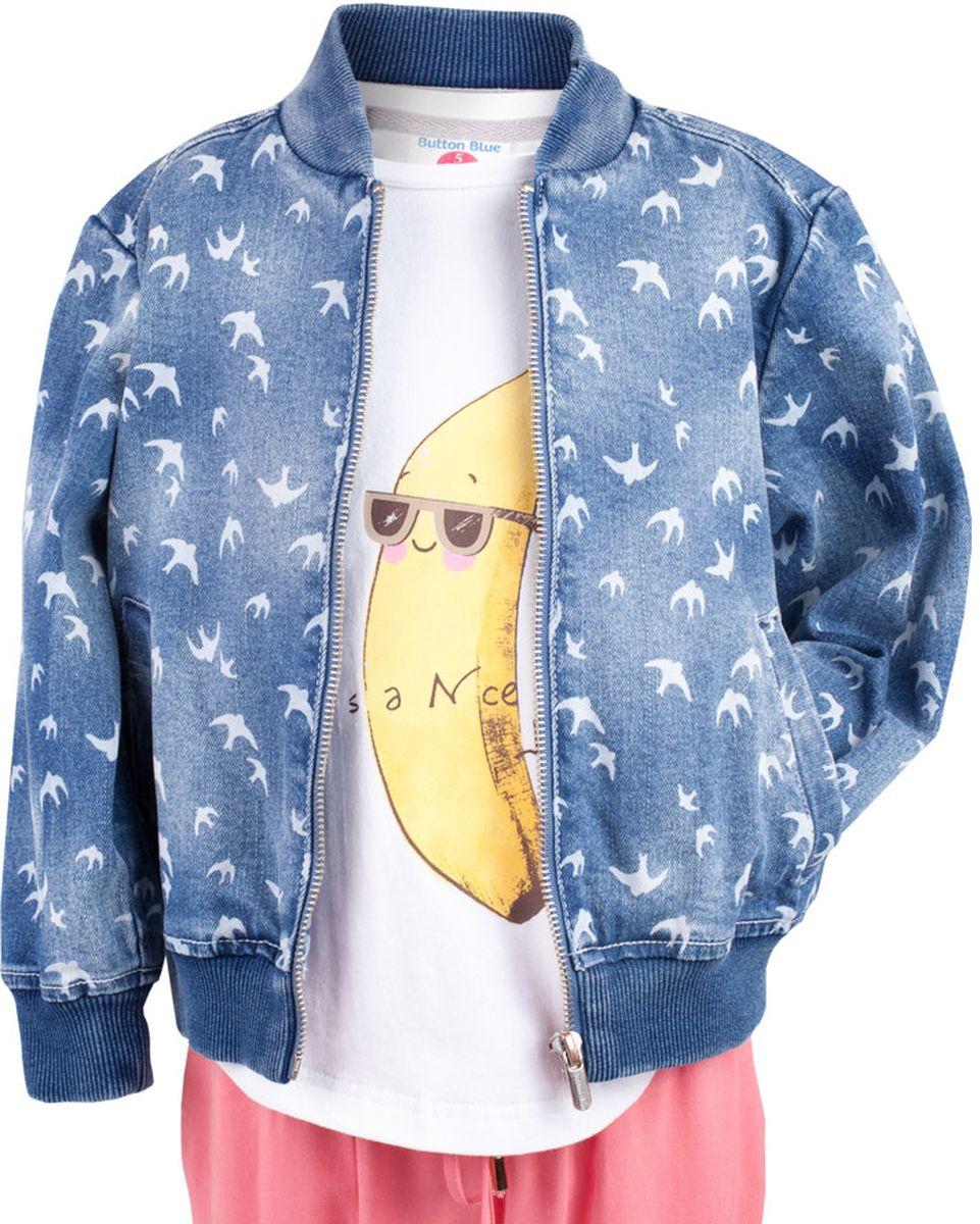 Куртка джинсовая для девочки Button Blue Main, цвет: голубой. 117BBGC4003D207. Размер 110, 5 лет117BBGC4003D207Джинсовая куртка-бомбер для девочки - хит сезона. Прекрасная базовая вещь весенне-летнего гардероба, джинсовая куртка с рисунком отлично сочетается с платьем, сарафаном, брюками, делая комплект интересным и завершенным. Если вы хотите, чтобы ваш ребенок был в тренде, вам нужно купить джинсовую куртку от Button Blue. Прекрасный внешний вид, высокие потребительские свойства не вызовут сомнений в ее качестве и комфорте.