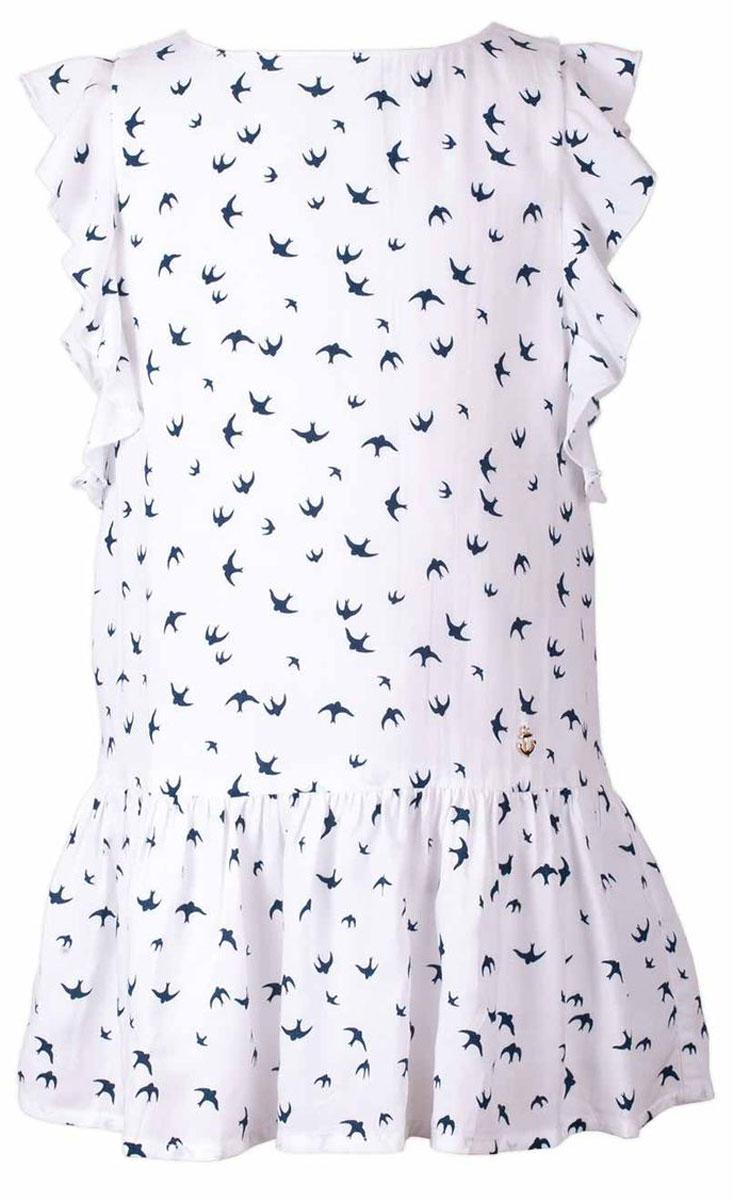 Платье для девочки Button Blue Main, цвет: белый. 117BBGC25030207. Размер 140, 10 лет117BBGC25030207Прекрасный летний вариант -текстильное платье с рисунком на тонкой хлопковой подкладке. Модный силуэт, комфортная форма, выразительные детали делают платье для девочки отличным решением для каждого дня лета. Если вы хотите приобрести одновременно и красивую, и практичную, и удобную вещь, вам стоит купить детское платье от Button Blue.