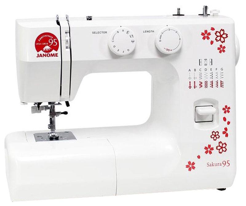Janome Sakura 95 швейная машинаSakura 95Швейная машина Janome Sakura 95 выпущена к 95-летию известной фирмы.Данная модель сочетает в себе превосходную функциональность и легкое управление, чем завоевала сердца уже многих покупателей.В швейной машине Janome Sakura 95 имеется хорошая подсветка, благодаря которой удобно работать в любое время суток, а также регуляторы длины и ширины стежка, и натяжения верхней нити.Простая в использовании швейная машина идеально подходит для начинающих. Хорошо работает со всеми видами тканей.