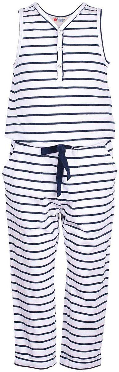 Полукомбинезон для девочки Button Blue Main, цвет: белый. 117BBGC52020205. Размер 98, 3 года джинсы для девочки button blue main цвет голубой 117bbgc6304d200 размер 98 3 года