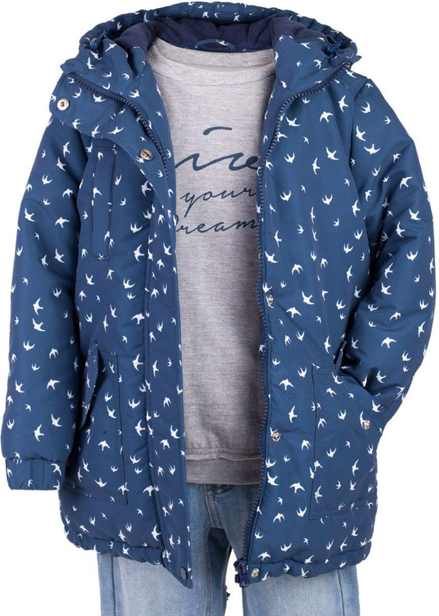 Куртка для девочки Button Blue Main, цвет: синий. 117BBGC46011007. Размер 98, 3 года117BBGC46011007Куртка - важнейший атрибут весеннего практичного гардероба ребенка. Водоотталкивающая плащевая ткань создаст отличное настроение, мягкая трикотажная подкладка подарит уют. Если вы хотите купить удлиненную куртку для девочки недорого, не сомневаясь в ее комфорте, качестве, высоких потребительских свойствах и прекрасном внешнем виде, то модель от Button Blue - то, что нужно!