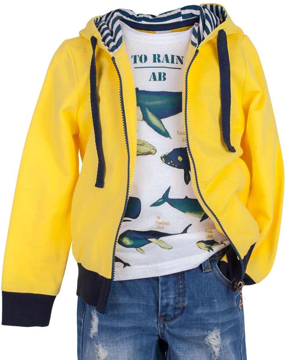 Толстовка детская Button Blue Main, цвет: желтый. 117BBUC16022700. Размер 128, 8 лет117BBUC16022700Детская толстовка - хит прогулочного и домашнего гардероба. Модная, удобная, практичная, толстовка - отличная вещь на каждый день. Толстовка от Button Blue гарантирует прекрасный внешний вид, комфорт и свободу движений.