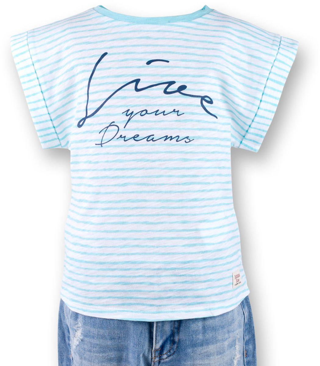 Футболка для девочки Button Blue Main, цвет: ментоловый. 117BBGC12022605. Размер 104, 4 года117BBGC12022605Полосатая футболка - не только базовая вещь в гардеробе ребенка, но и залог хорошего летнего настроения. Если вы решили купить футболку для девочки, выберете модель футболки в полоску с оригинальным принтом, и ваш ребенок будет доволен.