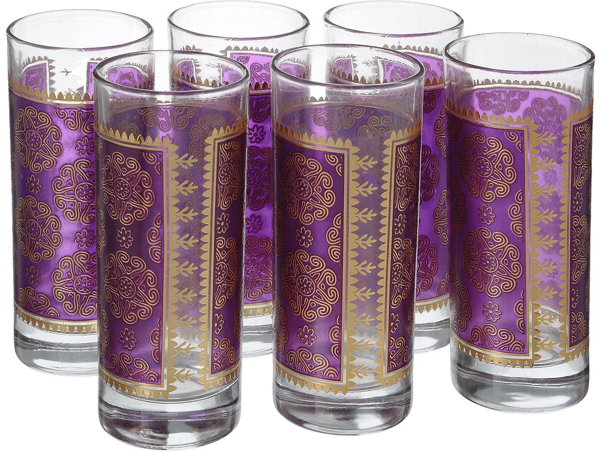 Набор стаканов Loraine, 260 мл, 6 шт. 4332325764Набор Loraine состоит из шести стаканов, выполненных из прочного высококачественного стекла. Изделия, декорированные золотистым орнаментом на фиолетовом фоне, сочетают в себе элегантный дизайн и функциональность. Стаканы предназначены для подачи воды, сока и других напитков. Они излучают приятный блеск и издают мелодичный звон. Такой набор прекрасно оформит праздничный стол и создаст приятную атмосферу за романтическим ужином.Не рекомендуется мыть в посудомоечной машине. Изделия подходят для хранения в холодильнике.Диаметр стакана (по верхнему краю): 6 см.Высота стакана: 13,7 см.
