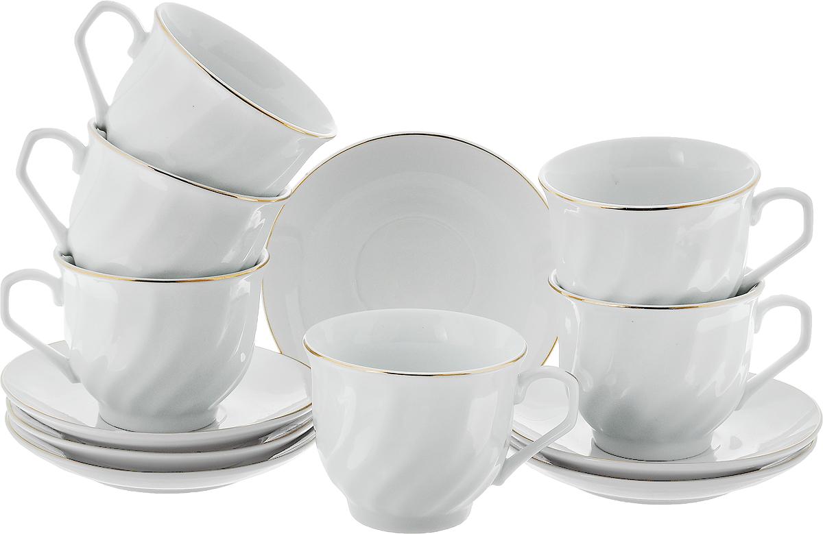 Набор чайный Loraine, 12 предметов. 2561625616Набор чайный Loraine состоит из 6 чашек и 6 блюдец, выполненных из высококачественного белоснежного фарфора. Чашки оформлены красивым рельефом, золотистая эмаль дополняет края изделий. Такой набор отлично подойдет для сервировки стола к чаепитию, а сам процесс превратится в одно удовольствие. Он порадует вас классическим дизайном, практичностью и качеством. Изысканно белый цвет с золотым декором придает набору элегантный вид. Диаметр чашки (по верхнему краю): 8,5 см. Высота чашки: 7 см. Объем чашки: 220 мл. Диаметр блюдца: 13 см.