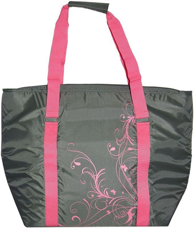 Термосумка Thermos Freezer Tote, цвет: серый, 27 л446428Складная сумка-термос Freezer Tote легкая и компактная, она используется во время совершения покупок для сохранения свежести и температуры продуктов. Сумка выполнена в серой цветовой гамме с розовой декоративной отстрочкой и растительным орнаментом. Переносить сумку можно держа ее не только в руках, но и на плече. Застежка молния создает необходимые условия для изоляции, а внутренний изолирующий слой позволяет сохранить температуру и свежесть продуктов длительное время.Объем: 27 л.Размеры сумки: 43 х 20 х 42 см.