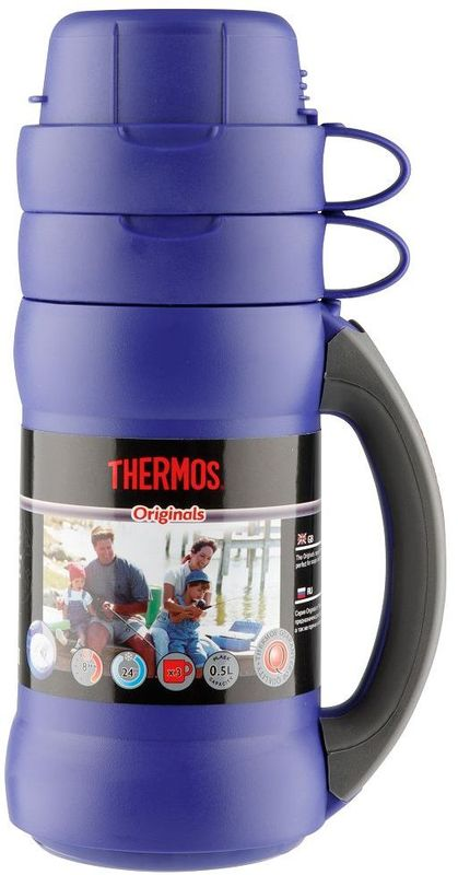 Термос Thermos, цвет: синий, 500 мл. 273C923707Повышенная прочность стеклянной колбы. Визуальная защита от подделки - колба розового цвета. Полностью герметичен. Благодаря боковым стопперам, термос устойчив в горизонтальном положении.Объем: 500 мл.